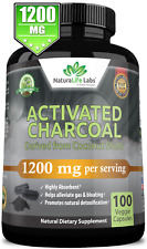 Organic Activated Charcoal capsules 1200mg highly absorbent helps alleviate gas