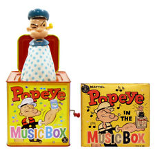 1961 Popeye Jack In The Box in Box Mattel Music/Musical Toy Working!