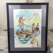 VINTAGE CHILDS ROOM ORIGINAL WATERCOLOUR PAINTING PICTURE FRAMED PIRATE SHIP