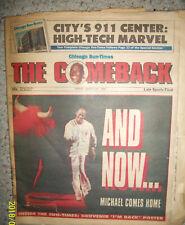 CHICAGO BULLS LEGEND MICHEAL JORDAN COMES OUT OF RETIREMENT NEWSPAPER