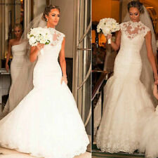 High Neck Lace Mermaid Wedding Dress Cap Sleeves Bridal Gowns Size 2 -26W