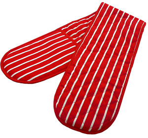 Double Oven Gloves in a Butchers Stripe Design, RED Colour Good Quality and Size