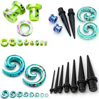 3 PAIR Acrylic Taper Stretcher Screw Tunnels Ear Gauges Plugs Stretching Kit Set