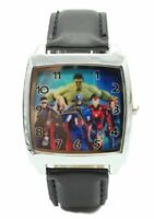 Marvel's Super Hero Characters Square Black Genuine Leather Band Wrist Watch