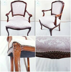 ORNATE BROWN WEDDING HOME THRONE ARM CHAIR PINK FABRIC BEDROOM SALON