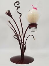 Elegant Metal and Glass Candle Holder Brown with Chrome Tips Free Egg Candle