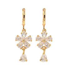 Women White Cubic Zirconia CZ Flower Dangle Drop Earrings Jewelry Birthday Gift