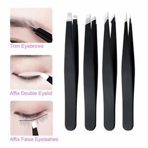 Eyebrow Tweezer Set Travel Case Stainless Steel Precision for Facial Hair 4pcs