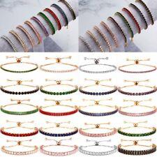 Luxury Rhinestone Crystal Zircon CZ Gold Bracelet Cuff Bangle Chain Wedding Gift