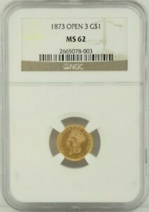 1873 Gold $1 Liberty Head Open 3 NGC MS 62