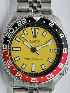 VINTAGE SEIKO DIVER AUTOMATIC WATCH 7002-700A LOVELY YELLOW FACE MOD 100389