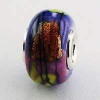 Murano Glass Bead Glow On 13mm high sterling silver core for charm bracelet