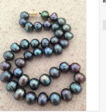 "18""12-13mm tahitian peacock green pearl necklace DA12"
