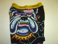 "NEW MENS ED HARDY BLACK ""BULL DOG & PANTHER"" BOXERS SIZE S 28-30"