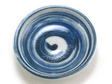 "4 PCS Japanese 3.5"" Sushi Wasabi Soy Sauce Dipping Dish Blue Swirl Made in Japan"