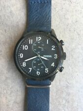 Fossil Mens Chronograph Watch FS4874 Black Dial With Dark Blue Strap Bin G