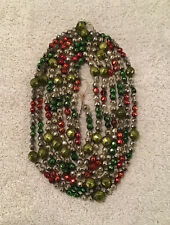 "VTG MERCURY GLASS DIAMOND CUT MULTI COLOR GARLAND 117"" CHRISTMAS FEATHER TREE"