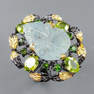 Jewelry Handmade Design Aquamarine Ring Silver 925 Sterling  Size 8.5 /R163853