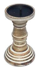 M 19cm Rustic Shabby Chic Solid Carved Pillar Church Wooden Candle Holder Stick