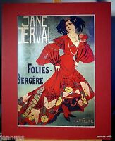 Reklame Druck hinter Passepartouts 80er Jane Derva Folies-Bergere 50x40 cm 835
