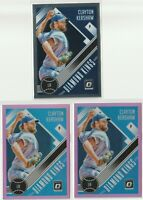 2018 DONRUSS OPTIC 2 PINK PRIZM & 1 BASE Clayton Kershaw Los Angeles Dodgers