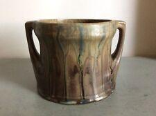 Cache-pot à anses en grès flammé marron bleu-vert signé Denbac Art Déco