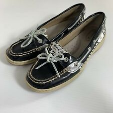 Sperry Top Sider Boat Shoes Angelfish Size 7 Black Silver Houndstooth Flats
