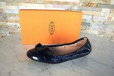 Tods Tod ´ S 39 Vernis Ballerines Chaussons Chaussures Basses Bleu Neuf