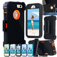 Shockproof Heavy Duty Rugged Hard Case Cover & Belt Clip Holster Fr iPhone 5s SE