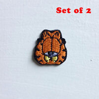Garfield Animated Cartoon Small Art Badge Iron/sew on Embroidered Patch Set of 2