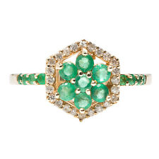 R113 Genuine 9K SOLID Yellow Gold NATURAL Diamond EMERALD Cluster Ring size N