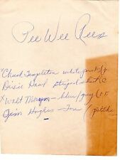 PEE WEE REESE Autographed Paper