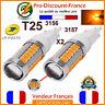 2 x Ampoule 33 LED T25 P27/7W 3156 3157 Orange Feux De Jour Clignotants W27/7W