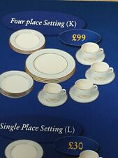 DOULTON 4 place Setting Brand New Pale Blue Gold White