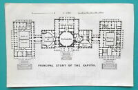 "WASHINGTON DC Floor Plan Capitol & Museum - 1909 MAP 4 x 6"" (10 x 15,5 cm)"