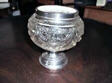 VINTAGE HALLMARK 1939 SILVER RIM & BASE CUT GLASS POT ARTHUR WILLIAM PENNINGTON