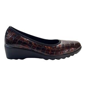 JOSEF SEIBEL Women's Shoes Bridget Brown Patent Croc Print Loafers Size 6