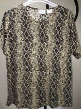 Kathy Ireland Plus Green Snakeskin Print Gold Metallic Top Blouse Women's 1X