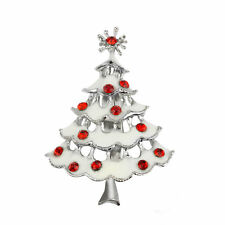 Lux Accessories White Christmas Tree Red Crystal Rhinestone Silvertone Pins