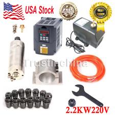 CNC 2.2KW Spindle Motor 2200W + Frequency Inverter VFD+ Mount+ ER20 Collet +Pump