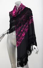 ADRIENNE LANDAU Black+Pink Embroidered Silk Floral XXL Piano Scarf Wrap Shawl
