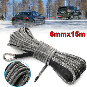 """50ft×1/4"""" Nylon Synthetic Winch Line Cable Rope Universal for Car ATV UTV Gray"""