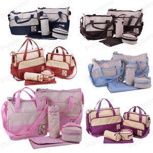Set Multi Function Baby Diaper Nappy Changing Bag Mummy Tote Shoulder Handbag
