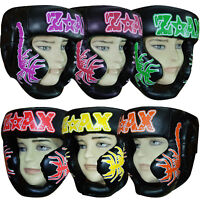 Junior Boxing Head Guard Leather Gear Martial Arts Kids / Children SCORPION