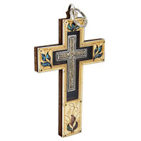 "Handmade Wooden Cross with Blessed Gemstone from Jerusalem Holy Land 5.6""/14cm"