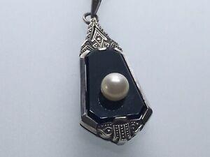 Anhänger Silber 835 Art Deco Onyx schwarz mit Perle