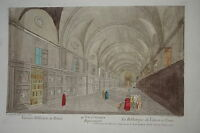 GRANDE Gravure XVIII° VUE D'OPTIQUE COULEURS BIBLIOTHÈQUE VATICAN ROME ITALIE