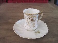 Old Delicate SMALL Porcelain Cup & Saucer, No Maker's Marks, May Hold 1/4cup