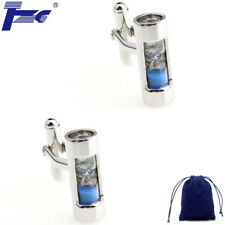 Fashion Cuff Links Men Blue Hourglass Cufflinks With Velvet Bag Sand Clock