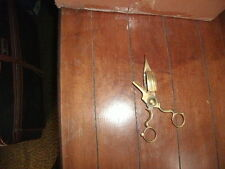 Vtg Brass Candle Wick Trimmer Snuffer Scissors Footed Antique Bronze Shears